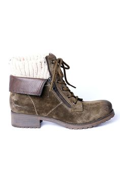 Soren Boot In Olive with Sweater Cuff.