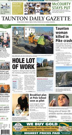 The front page of the Taunton Daily Gazette for Tuesday, March 10, 2015.