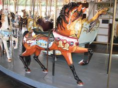 Brown carousel horse ~ Crescent Park Looff Carousel