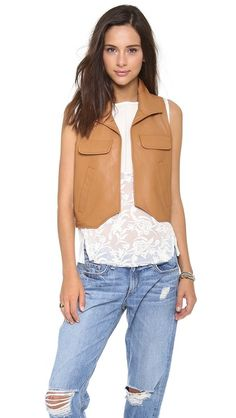 Piper Gore Chloe Cognac Leather Vest on shopbop.com