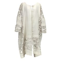 1920s Dramatic Lace & Linen Coat.  Open weave linen with inset panels of handmade lace...Unlined coat closes at the front with large lace covered buttons and linen loops...would look smashing over a narrow silk bias cut gown.