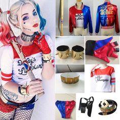 Harley-Quinn-Suicide-Squad-Pantalones-Cortos-Camisa-Chaqueta-Guantes-Disfraz