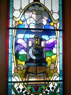 Stained glass window at the railway station, Dunedin, New Zealand Glass Rocks, Glass Art, New Zealand Holidays, Long White Cloud, Train Art, Train Stations, Architectural Features, South Island, Train Travel