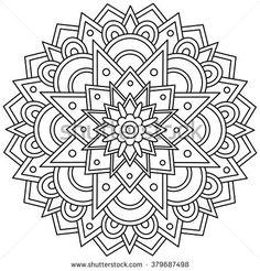 Mandala. Black and white round ornament. Vector illustration.