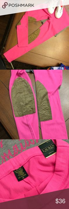NWT Pink Lauren Cotton Leggings NWT Pink Lauren Cotton Leggings with equestrian like patches inside knees.                         72% Cotton, 25% polyester, 3% spandex Lauren Ralph Lauren Pants Leggings