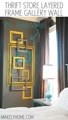 This is such an inexpensive way to create art in a big space - Thrift store frames used to make a layered frame gallery wall via MakelyHome....