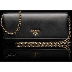 997260418306fd Saffiano Metallic Gold flap wallet. Extractable leather and chain shoulder  strap. Gold-plated · Prada WalletLetter LogoMetallic ...