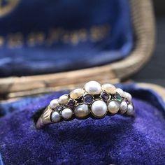 Georgian REGARD Ring with Seed Pearls, c. 1830, 18k yellow gold, ruby, emerald, garnet, amethyst, and diamond. $1,500.