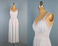 60s Powder Blue Nightgown Slip Dress /Full Slip / Wedding