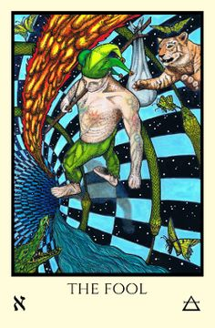 """Tabula Mundi Tarot Manly P. Hall (in 1928 in """"The Secret Teachings of All Ages"""") sees The Fool as """"walking toward the other trumps as though about to pass through the various cards"""" (pp. 413-414)."""