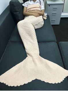 Simple Style Solid Color Knitting Rhombus Design Mermaid Tail Blanket