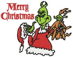 Grinch Merry Christmas machine embroidery design