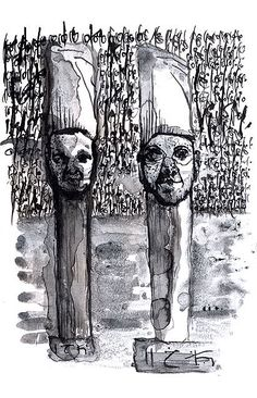 Binary totem#Ink and toner wash on paper#Bilal Dadou#drawing#esoteric#psicology#berber#mystic#tipography#berber#northafrican#archtyp