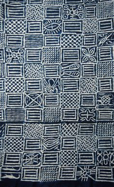 Africa   Detail from a Ukara cloth from the Leopard Society.  Igbo people of Nigeria   3 plain weave panels/stitch/resist on cotton dyed with indigo   20th century    Partial view