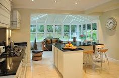 35 Fabulous Conservatory Kitchen Design Ideas That You Definitely Like - It is astonishing how much the design of kitchens has changed in recent years. Traditionally kitchens were one of the largest rooms in the house. Open Plan Kitchen Living Room, Kitchen Family Rooms, New Kitchen, Kitchen Ideas, Kitchen Designs, Kitchen Island, Orangerie Extension, Conservatory Kitchen, Conservatory Ideas