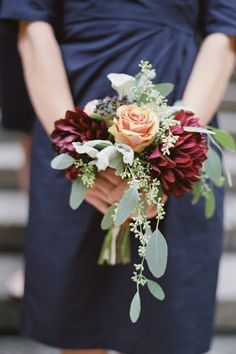NOTE: Nice, smaller bouquets for bridesmaids.  Like the shape.  gorgeous fall bridal bouquet with eucalyptus and burgundy dahlias?