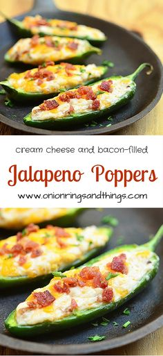 Jalapeno Poppers are stuffed with a mixture of cream cheese, shredded cheddar and crumbled bacon and then baked until gooey and bubbly