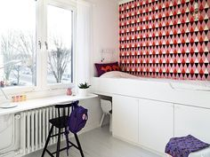 bright graphic wallpaper paired with stark white walls.perfect for kids room : bright graphic wallpaper paired with stark white walls.perfect for kids room Home Design, Design Ideas, Bunk Bed With Desk, Narrow Rooms, Built In Bed, Built Ins, Swedish House, Built In Storage, Bed Storage