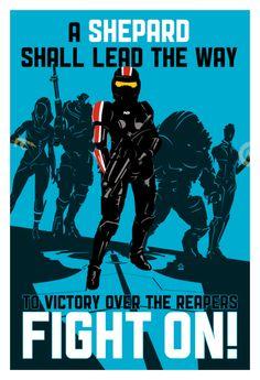 FIGHT ON (Paragon Edition) - Commander Shepard 13x19 POPaganda print - product images