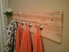 DIY bathroom towel bar/rack out of pallet wood