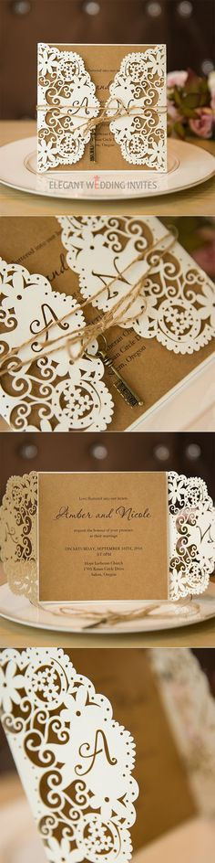 Chic Rustic Laser Cut Wedding Invitation with burlap and vintage key #wedding#invitations#rustic