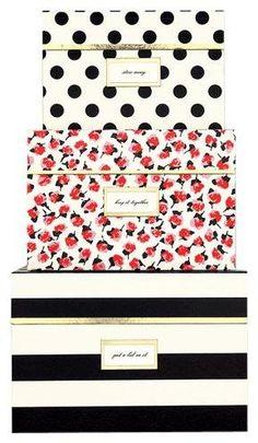 kate spade new york Nesting Boxes, Black Stripe   Free Shipping