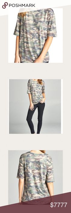 🌟JUST IN🌟 Camo tee. Super soft fabric. You can roll the sleeves or leave 'em 😉 Tops Tees - Short Sleeve