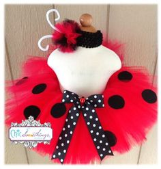Labybug Tutu, Baby Tutu and puff headband set, 0-24m, Photo Prop Tutu, Childrens Toddler Infant Tutu, Halloween Costume, Birthday, Ladybug. $35.00, via Etsy.