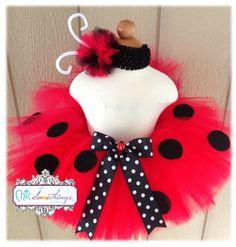 Labybug Tutu, Baby Tutu and puff headband set, 0-24m, Photo Prop Tutu, Childrens Toddler Infant Tutu, Halloween Costume, Birthday, Ladybug. $35.00, via Etsy.