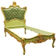 Antique Venetian Gilt and Paint Decorated Bedstead | From a unique collection of antique and modern bedroom furniture at https://www.1stdibs.com/furniture/more-furniture-collectibles/bedroom-furniture/