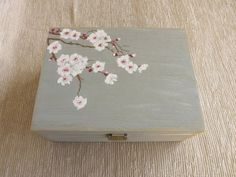 Crafts Box Wood Tea box with Cherry Blossom, handpainted custom wooden storage box for Tea lovers, Gray floral wooden chest Tea bag organizer Wooden Box Crafts, Wooden Flower Boxes, Wooden Tea Box, Painted Wooden Boxes, Wooden Storage Boxes, Wooden Chest, Wooden Diy, Hand Painted, Wooden Box Designs