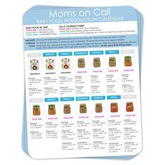 [FREE] Printable Baby Food Calendar   Moms On Call