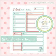 SCHOOL DAILY SCHEDULE  Keep it Together! Includes a time section for class schedule and appointments, a large daily to do list, a daily notes section, and a tracker you can use for anything from a daily expense record or shopping list, to a workout schedule.