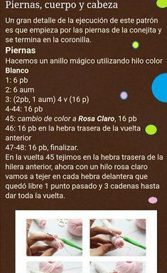 Conejita con vestido, patrón en castellano | Otakulandia.es Hello Kitty, Pink Sundress, Perfect Game, Knitted Baby Blankets, Magic Ring, Free Pattern, Tutorials