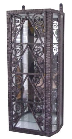 French Art Deco Wrought Iron Wall Display Cabinet Vitrine | Modernism