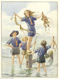 This one reminds me of childhood.  On the beach every summer,  collecting seaweed,  popping them,  and diving under waves until I felt them even in my sleep.  Margaret Tarrant - Seaweed - print | eBay