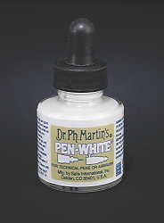 Marvelous, opaque white- already the right consistency for pointed and broad edge pen. Writes over dye and marker colors and remains white. Dilute with water if necessary. Cleans with water. Shake well. Can be mixed with other inks.