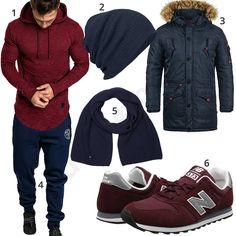 Lässiger Street-Style in Dunkelrot und Dunkelblau (m0875) #newbalance #schal #beanie #jogginghose #outfit #style #herrenmode #männermode #fashion #menswear #herren #männer #mode #menstyle #mensfashion #menswear #inspiration #cloth #ootd #herrenoutfit #männeroutfit