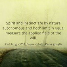 Spirit and instinct are by nature autonomous and both limit in equal measure the applied field of the will. ~Carl Jung, CW 8, Pages 178-181, Paras 371-381.