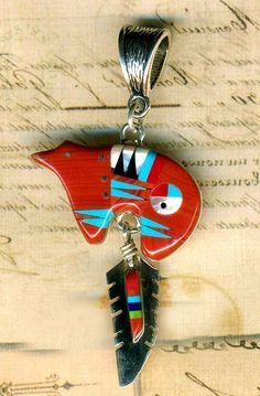 Southwest Red Jasper Zuni Bear Feather PENDANT Turquoise Inlay Sterling Silver
