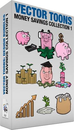 Money Savings Collection 1:  Bundle of images includes the following:  A piggy bank and calculator A pink piggy bank with eye glasses placed beside a black calculator with an orange on and off button  A smart piggy bank savings A smart pink piggy bank with eyeglasses placed on top of a pile of green bills  A piggy bank dollar savings A pink piggy bank smirks while looking up the gold dollar symbol that will be inserted into its coin slot  Sprouts from gold coins Stacks of gold coins that are…