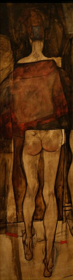 EGON SCHIELE. Rear view of a Female Half-Nude with Clothe. 1913