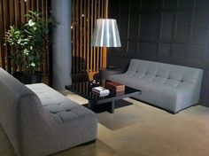 """GROOVE SOFA SECTIONAL  Materials: Wool and blackened steel  Dimensions: 116""""W x 116""""D x 15""""H    Options: COM, ultrasuede, mohair, wool, leather  Base Options: Brushed steel, blackened steel, wood, or acrylic"""