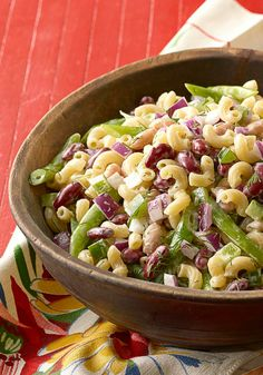 Three-Bean Macaroni Salad — Elbow macaroni, fresh green beans and chopped red onions make this recipe as colorful as it is tasty. And if you have 20 minutes to spare, you can have this side ready for a last-minute dinner party.