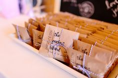 "Unique wedding favor idea - bags of Starbucks coffee beans with ""the perfect blend"" {Suzy Goodrick Photography}"