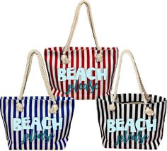 "Tropical/nautical/Beach Please rope tote bag features Beach Please in aqua blue and teal on your choice of red/white, black/white or blue/white striped totes with rope handles.  ⚓⚓⚓⚓⚓⚓⚓⚓⚓⚓⚓⚓⚓⚓⚓⚓⚓⚓⚓⚓⚓⚓⚓⚓⚓⚓⚓⚓⚓⚓⚓⚓⚓⚓⚓⚓⚓⚓⚓⚓⚓⚓⚓⚓⚓⚓⚓⚓⚓⚓⚓⚓  Have the best of both worlds with this generously large tote bag with rope handles that is secure and sturdy enough to be an everyday work horse while maintaining trendy fashion.  • 17.5"" top zipper • 4.25"" bottom gusset (stands upright) • ..."