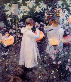 "John Singer Sergent's ""Carnation, Lily, Lily, Rose""  Can't you just ""smell"" the summer evening ?"
