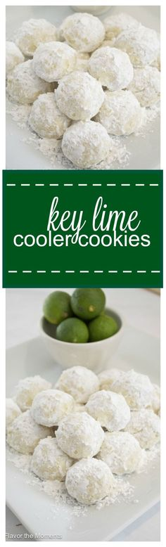 Key Lime Cooler Cookies are soft, buttery, and bursting with fresh key lime flavor! Flavor the Moments cookie recipes Brownie Cookies, Cookie Desserts, Yummy Cookies, Cookie Recipes, Dessert Recipes, Buttery Cookies, Key Lime Desserts, Cookie Table, Protein Cookies