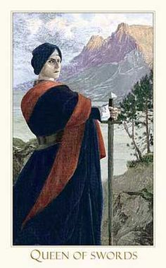Victorian Romantic Tarot,The Queen of Swords