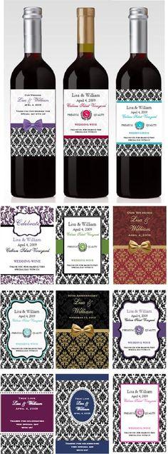wedding wine bottle labels theme favors
